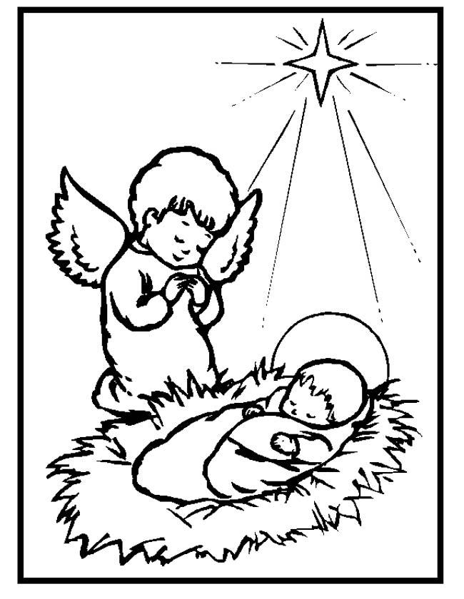 Gratis kleurplaat Biddend engeltje bij jezus