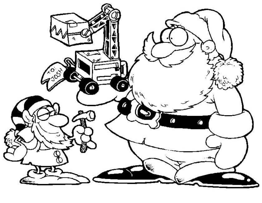 Gratis kleurplaat Kerstman met graafmachine