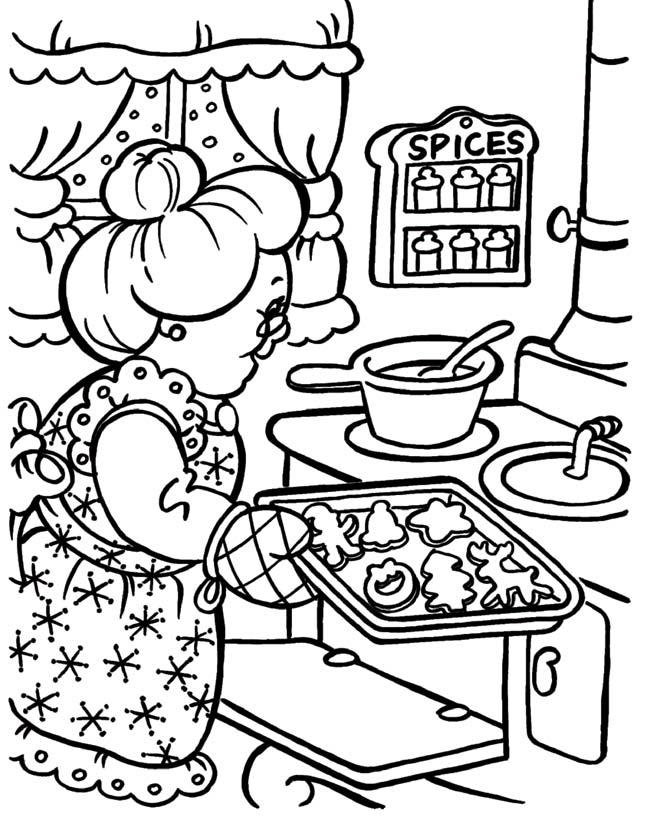 Kleuren Nu Oma Bakt Kerstkoekjes Lekkere Kleurplaten