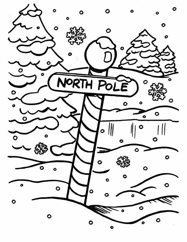 Gratis kleurplaat Bordje naar de noordpool