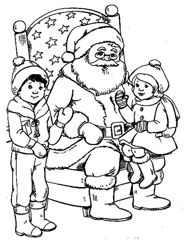 Gratis kleurplaat Kerstman met kinderen