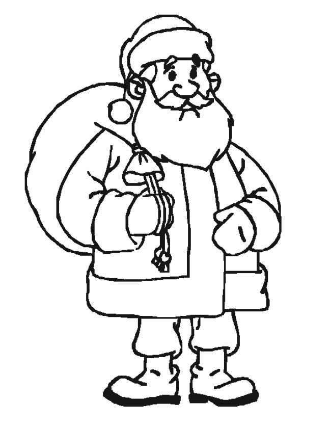 Gratis kleurplaat Kerstman met rugzak op