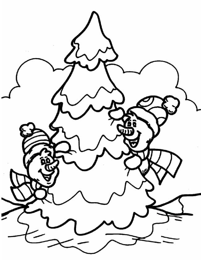 Gratis kleurplaat Verstoppen achter kerstboom
