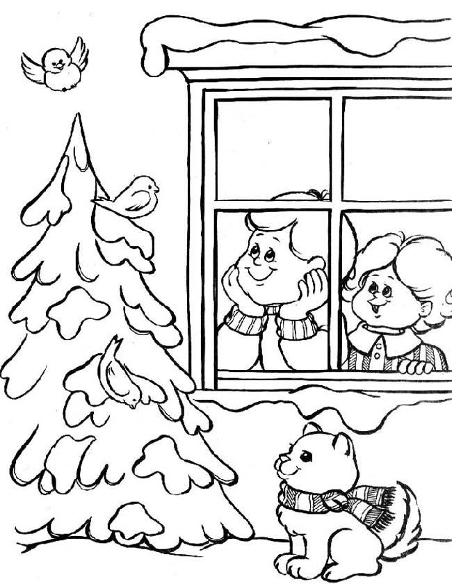 Gratis kleurplaat kinderen voor het raam
