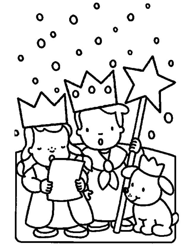 Gratis kleurplaat Zingende kindjes voor kerst