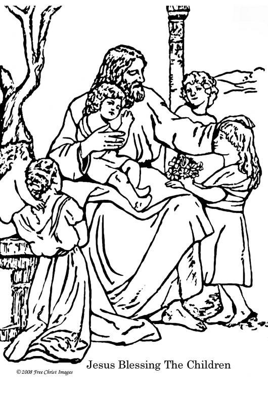 Gratis kleurplaat Jezus zegent de kinderen