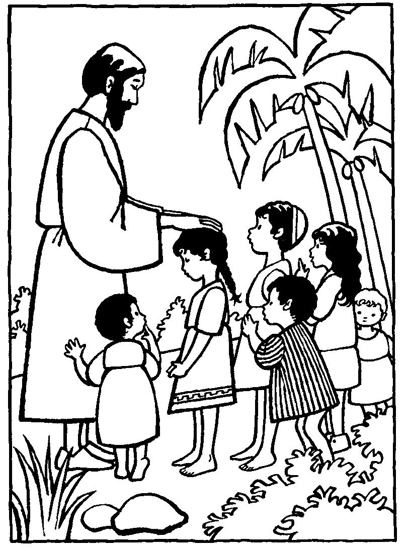 Gratis kleurplaat Jezus zegent kinderen