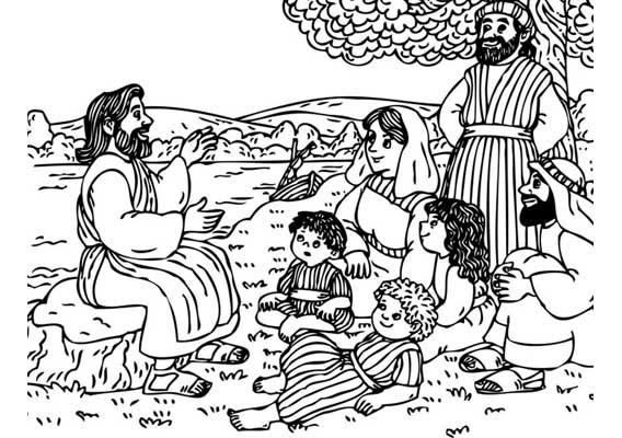 Gratis kleurplaat Jezus vertelt
