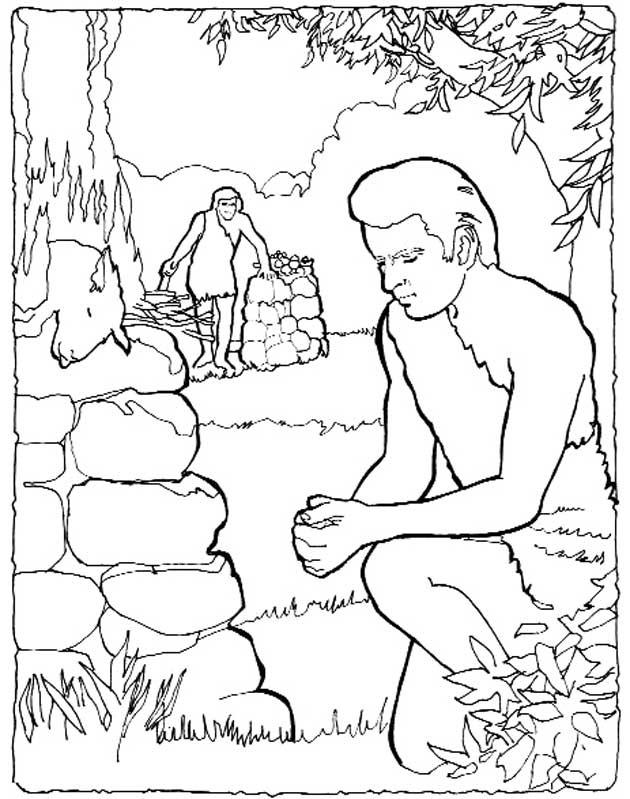 Gratis kleurplaat Kain en Abel