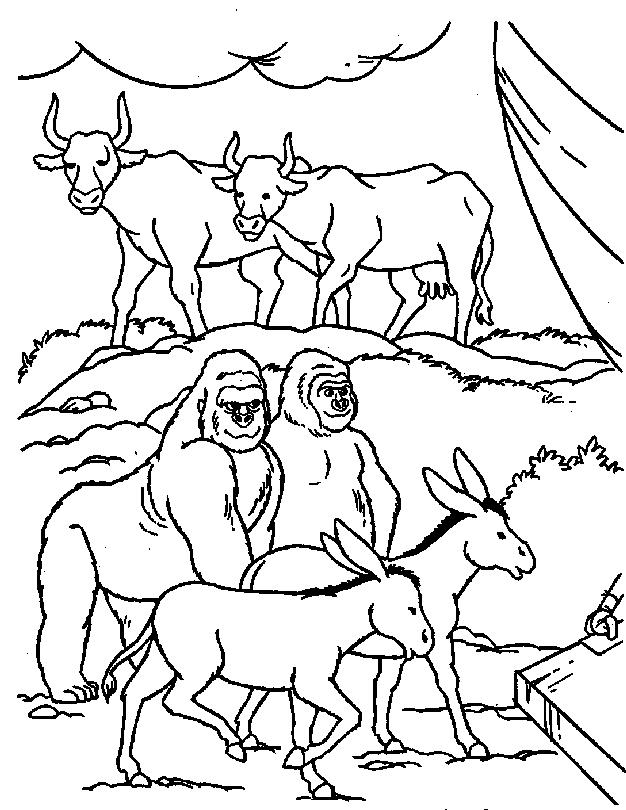 Gratis kleurplaat Dieren gaan de ark van Noach binnen