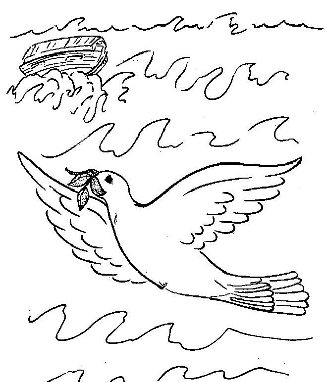 Gratis kleurplaat Een duif vliegt uit de ark