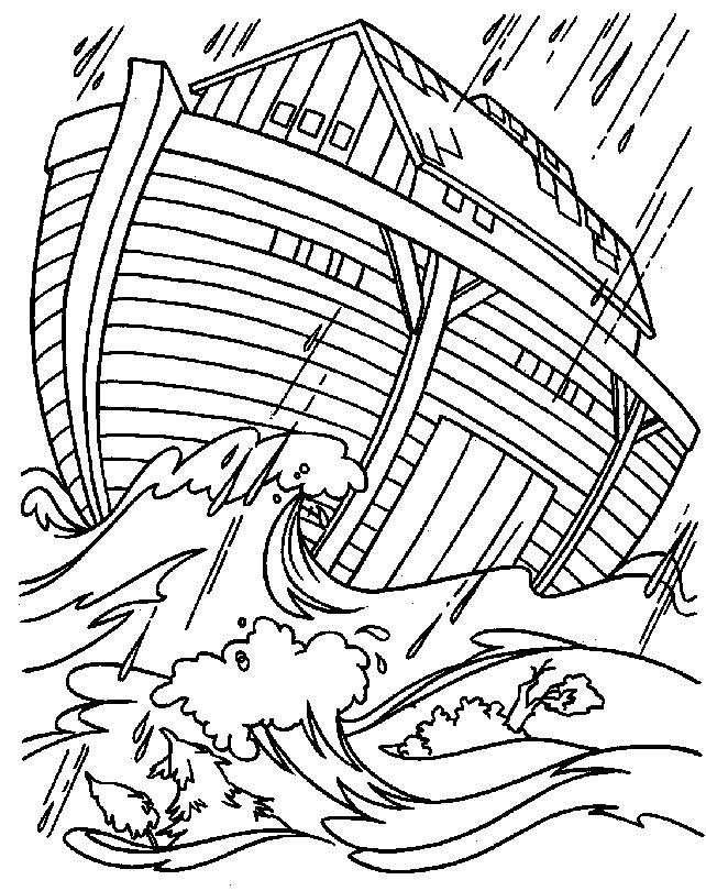 Gratis kleurplaat Ark in de storm