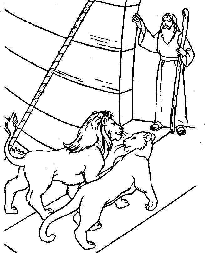 Gratis kleurplaat Leeuwen gaan de ark binnen