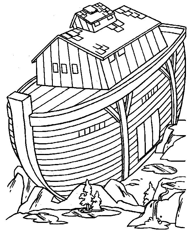 Gratis kleurplaat De ark op de berg