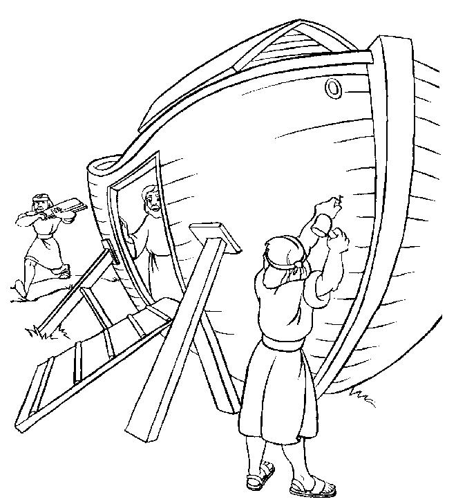 Gratis kleurplaat Ark van Noach wordt gebouwd