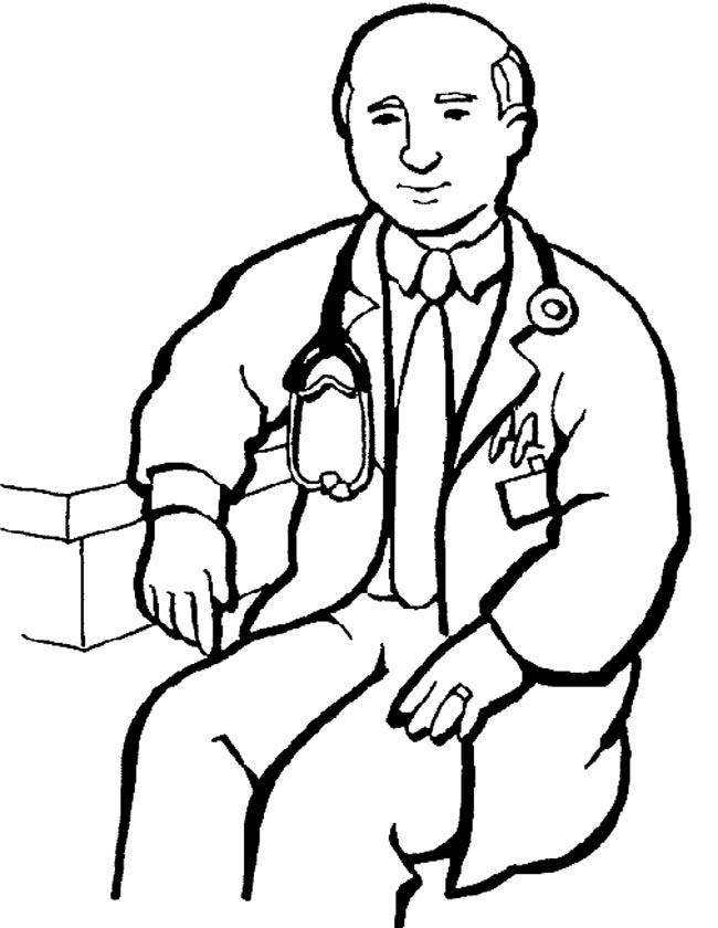 Gratis kleurplaat Dokter met stetoscoop