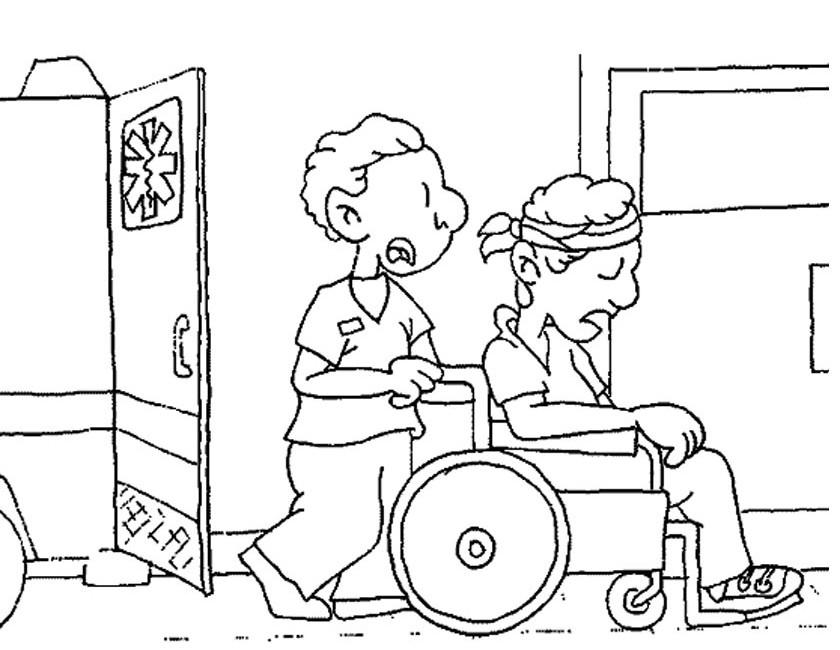 Gratis kleurplaat Rolstoel uit ambulance