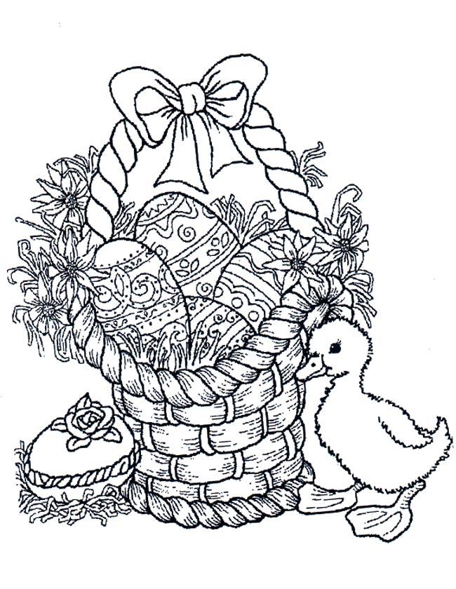 Kleurplaten Pasen Eieren.Kleuren Nu Paasmandje Met Eend En Eieren Kleurplaten