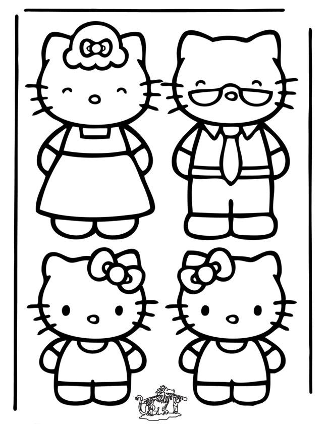 Gratis kleurplaat de hele familie hello kitty