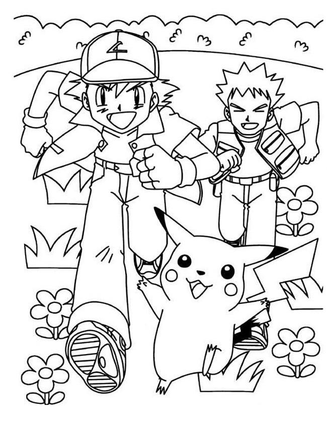 Gratis kleurplaat rennen met pikachu