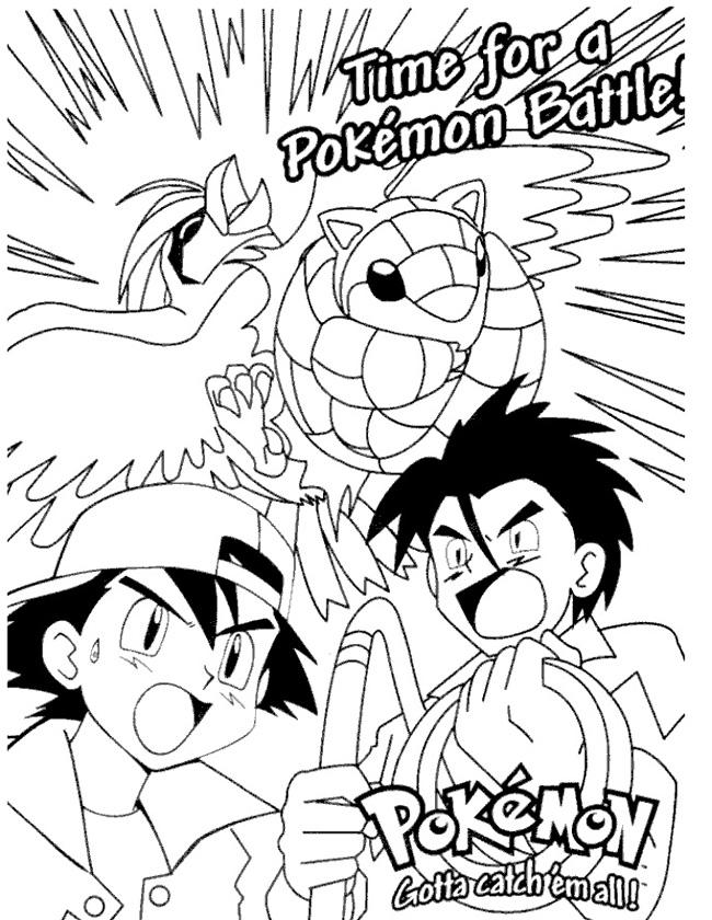 Gratis kleurplaat pokemon klaar om te vechten