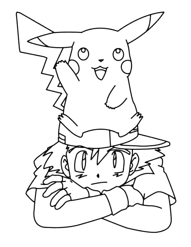Gratis kleurplaat ash en pikachu