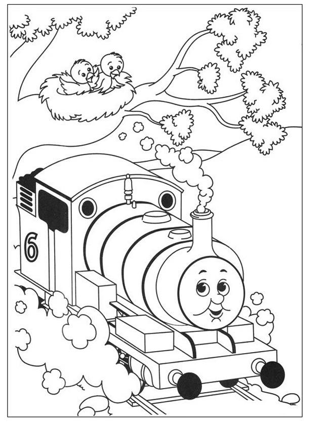 Gratis kleurplaat Thomas op volle snelheid