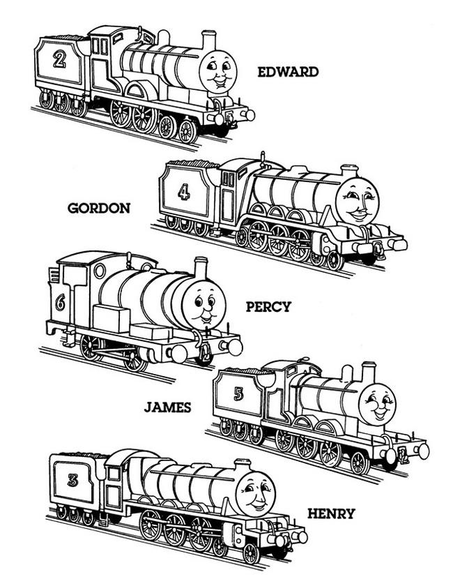 Gratis kleurplaat Edward, Gordon, Percy en James