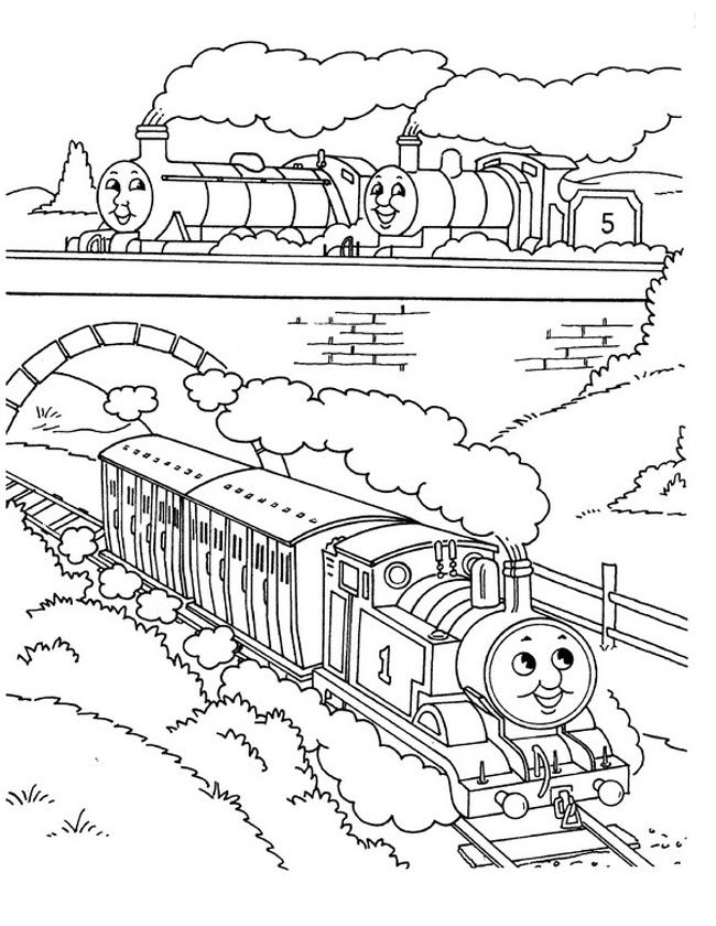 Gratis kleurplaat onder de spoorbrug door