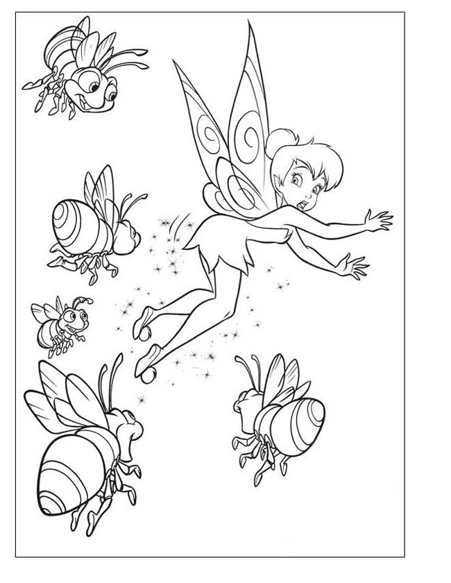 Gratis kleurplaat tinkelbel en bijtjes