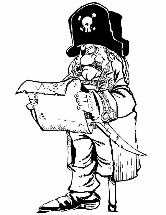 Gratis kleurplaat piraat bekijkt de schatkaart