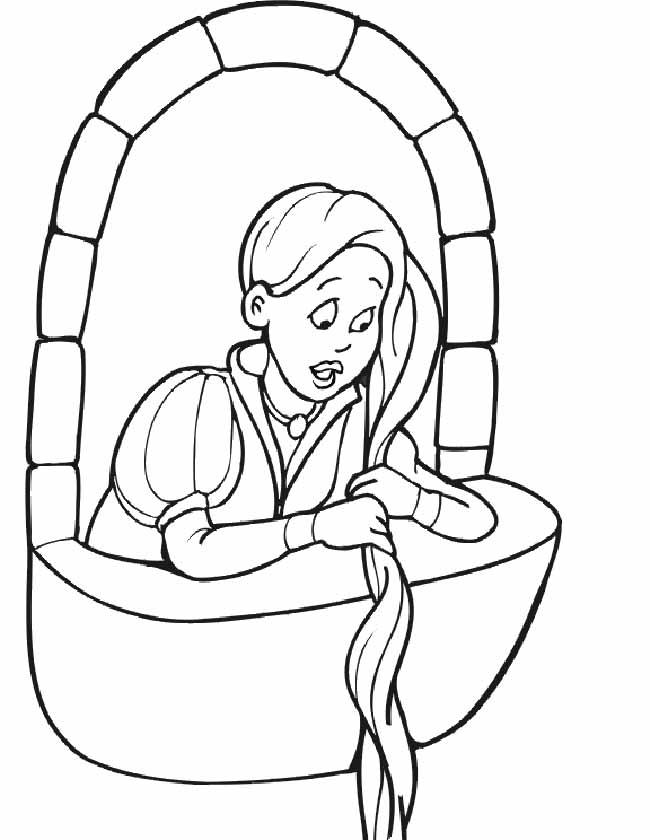 Kleurplaten Prinses Rapunzel.Kleuren Nu Prinses Op Het Balkon Kleurplaten
