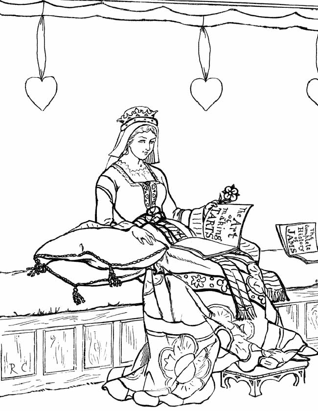 Gratis kleurplaat Lezende prinses