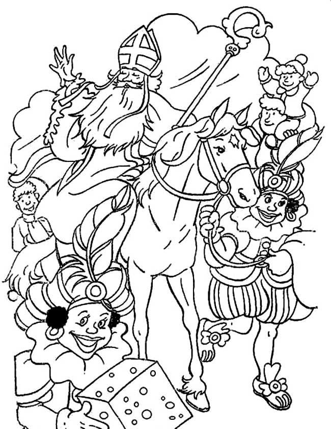 Gratis kleurplaat Sinterklaas is weer in het land