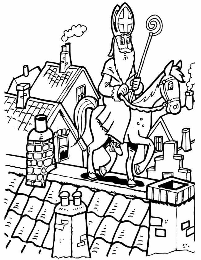 Gratis kleurplaat Sinterklaas op het dak