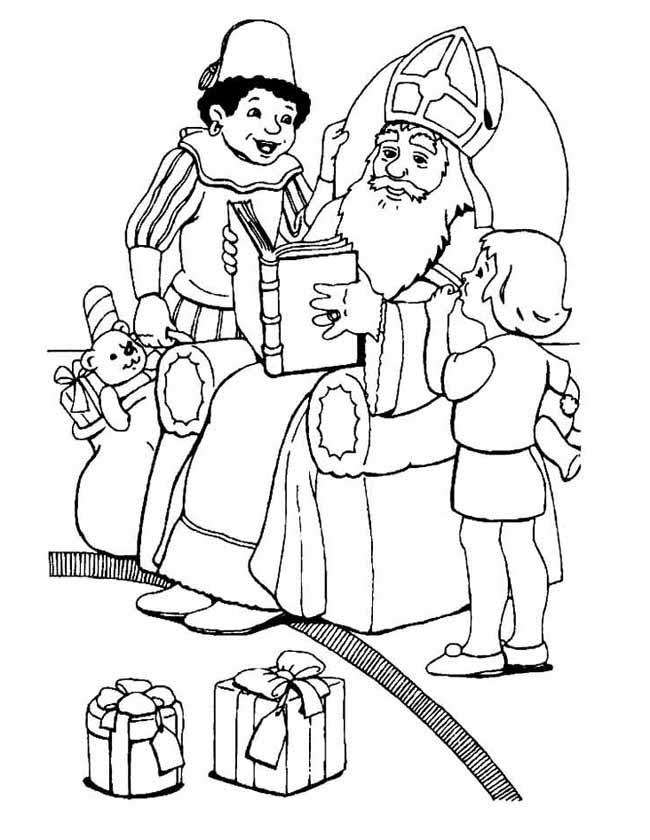 Gratis kleurplaat Sinterklaas leest voor