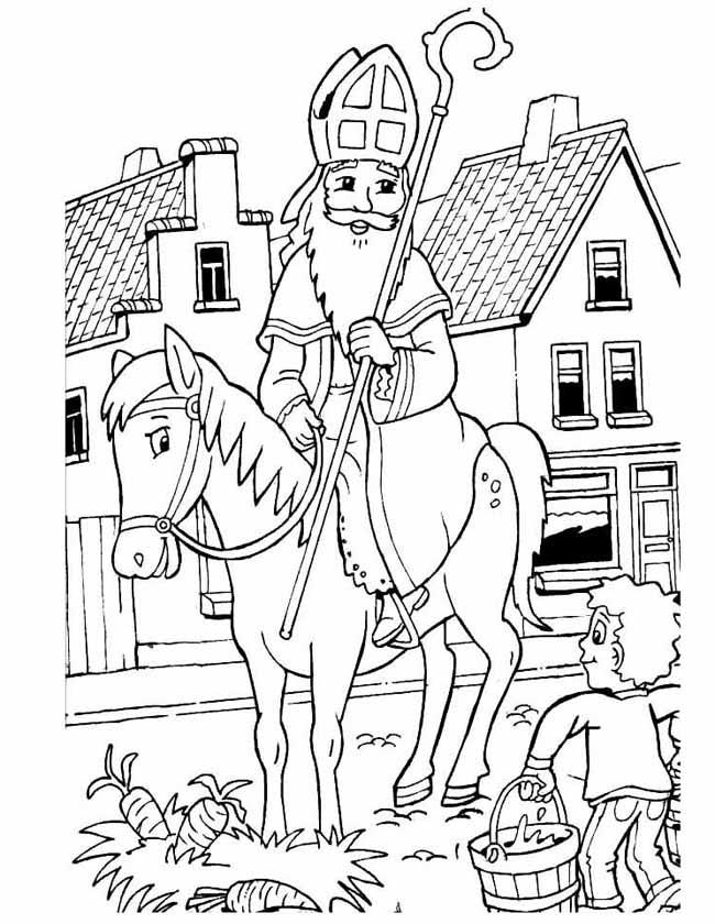 Kleurplaten Van Sinterklaas Zijn Paard.Kleuren Nu Sinterklaas Op Paard Kleurplaten