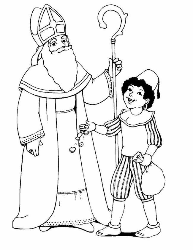 Kleurplaten De Sint En Piet.Kleuren Nu Sint En Piet Met Strooigoed Kleurplaten
