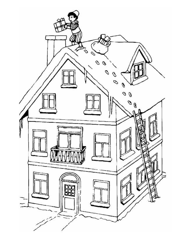 Gratis kleurplaat Piet op het dak met cadeaus
