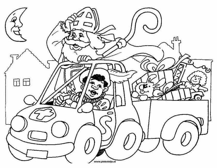 Sinterklaas Kleurplaten Actie.Kleuren Nu Sinterklaas Met De Auto Kleurplaten