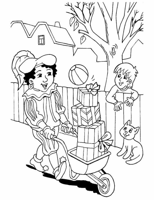 Gratis kleurplaat Piet met een kruiwagen