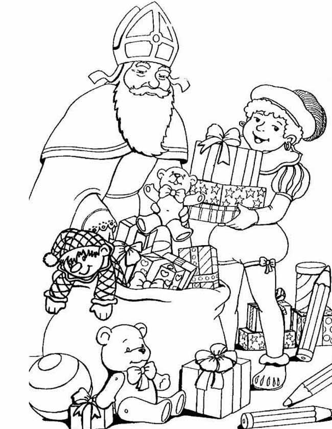 Gratis kleurplaat Piet helpt met een kado