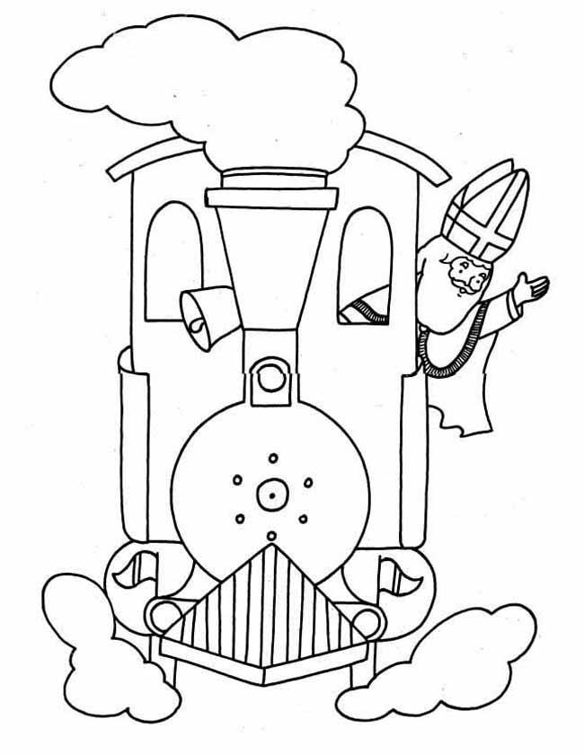 Gratis kleurplaat Sinterklaas op de stoomtrein