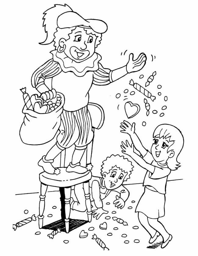 Gratis kleurplaat Piet gooit met pepernoten