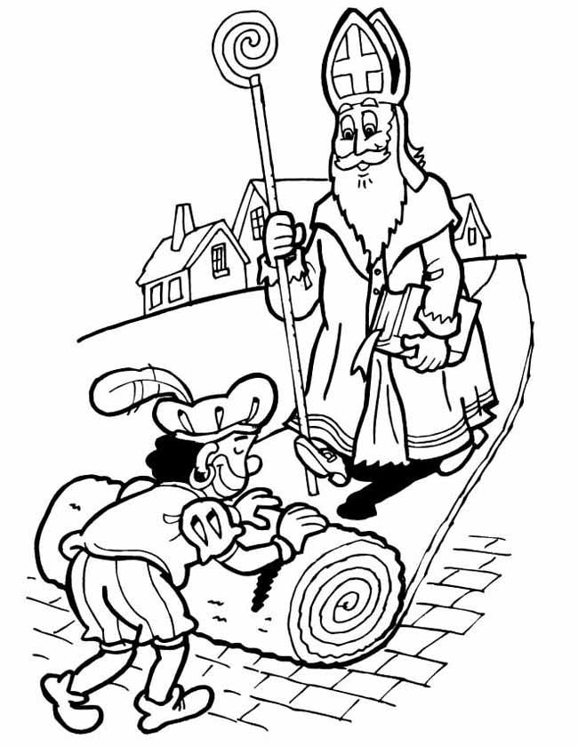 Gratis kleurplaat Sinterklaas op de rode loper