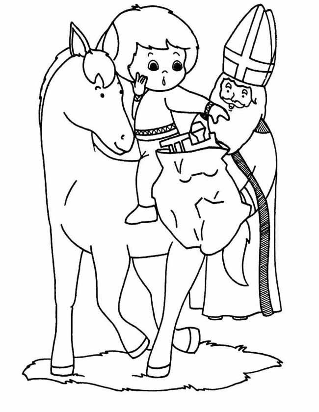 Gratis kleurplaat meisje op het paard