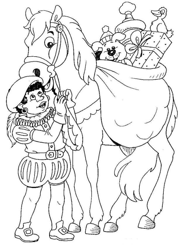 Gratis kleurplaat het paard met piet