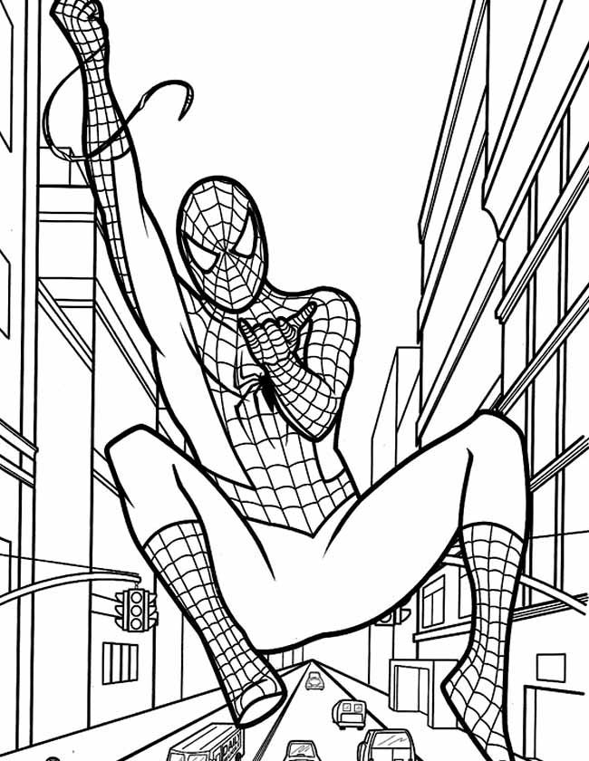 Gratis kleurplaat Spiderman zweeft over een straat