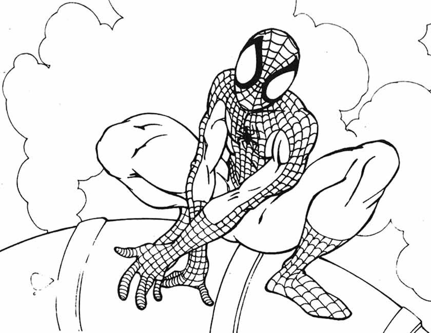 Gratis kleurplaat Spiderman in de wolken