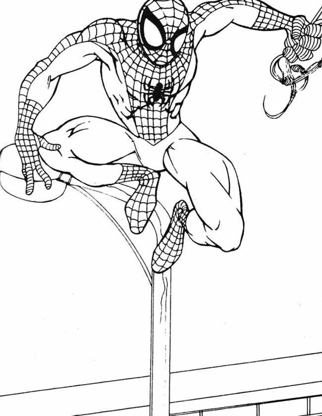 Gratis kleurplaat spiderman op lantaarnpaal